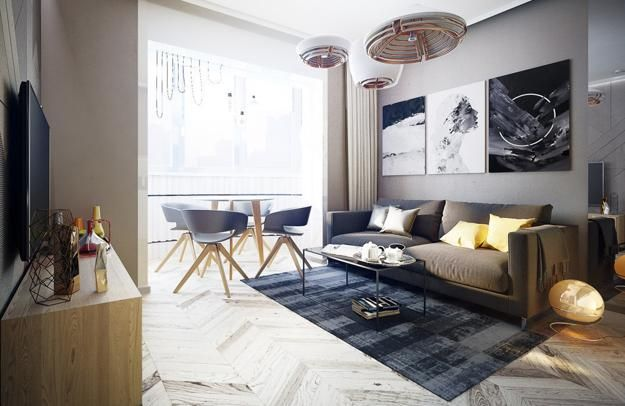Modern Apartment Ideas, Single Person Studio Design with Bright Accents |  Living room design modern, Modern houses interior, Modern bedroom decor