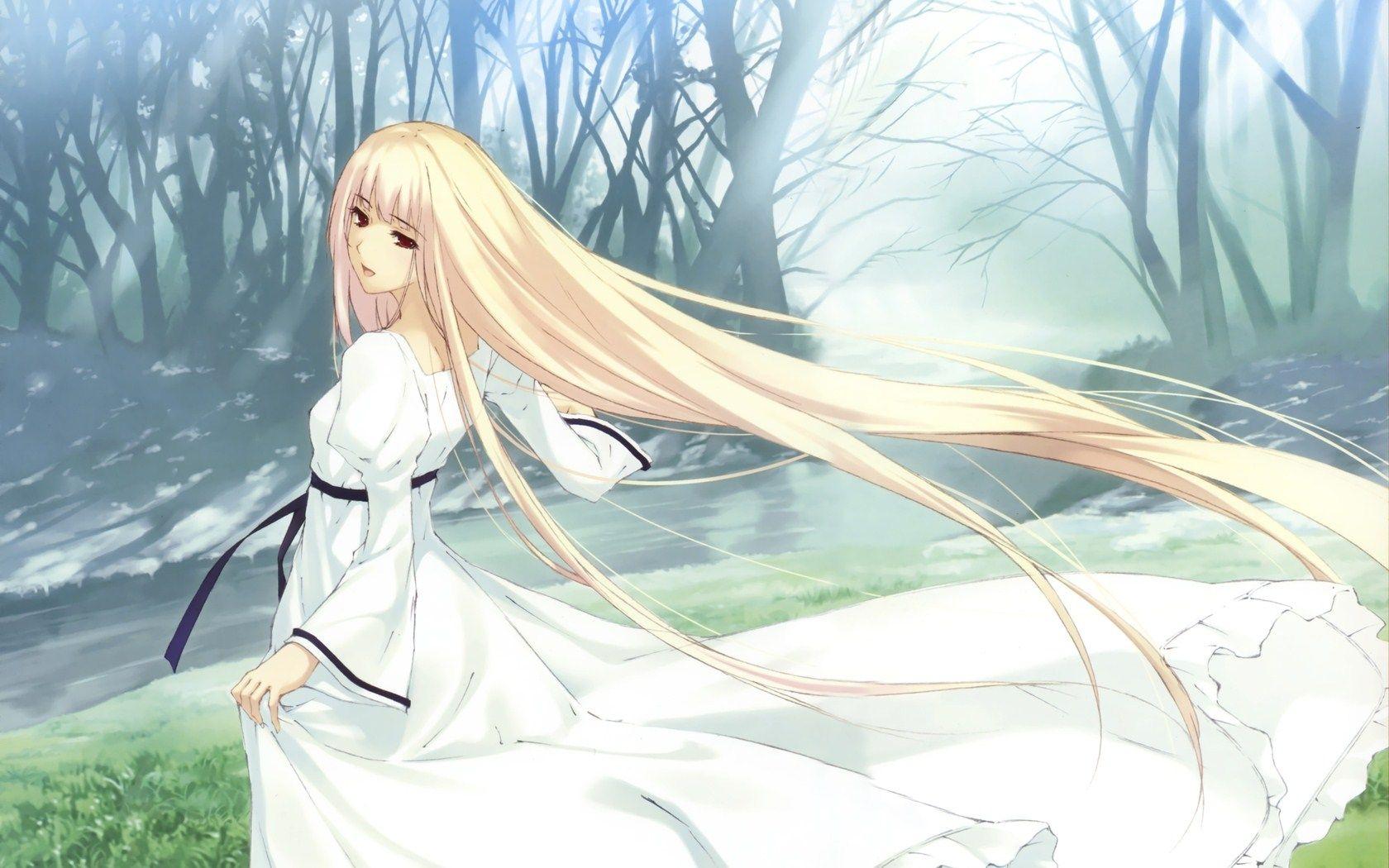 anime beautiful girl blonde long hair red eyes Obrazy