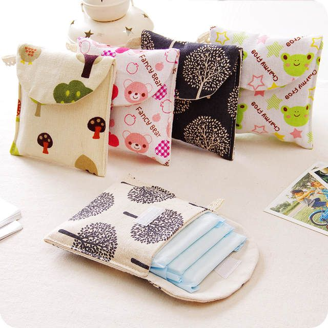 Fresh Pattern Sanitary Napkin Bag Girls Sanitary Napkin Storage Bag 5 Pieces/Lot