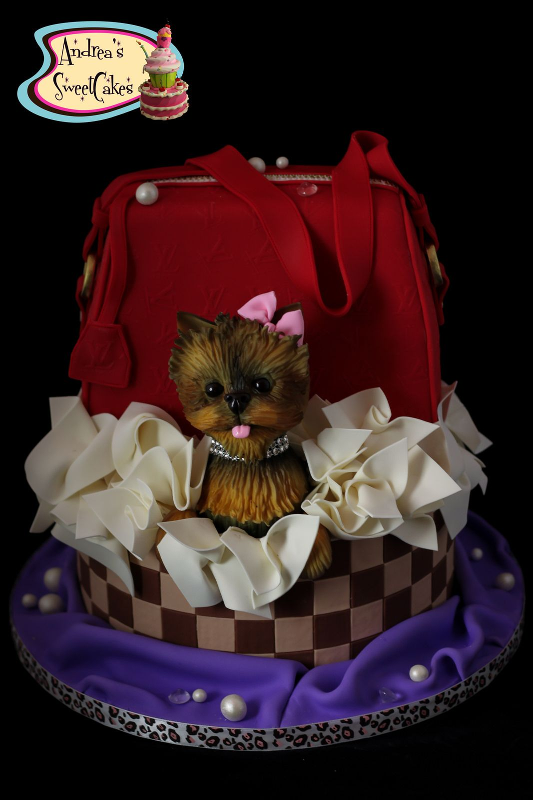 Teacup Yorkie And Purse Cake