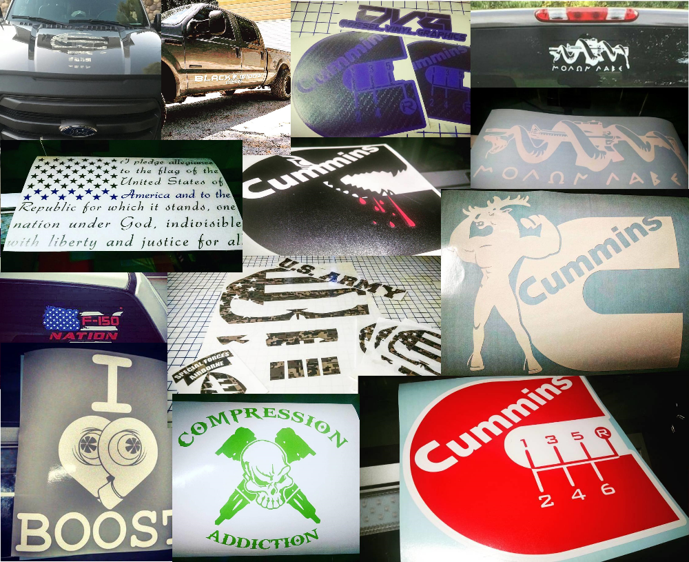 Custom decals for diesel enthusiast. Also do other decal work.