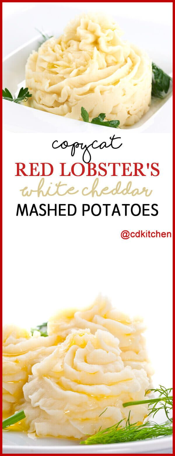 Copycat Red Lobster's White Cheddar Mashed Potatoes - If you are looking for a great mashed potato recipe, this copycat from Red Lobster is not only easy to make, but everyone always loves it. Basic mashed potatoes are given an extra creamy texture with the addition of both heavy cream and sour cream. White Cheddar cheese is used instead of regular cheddar which gives it a more mild cheese flavor. | CDKitchen.com #mashedpotatoesrecipe