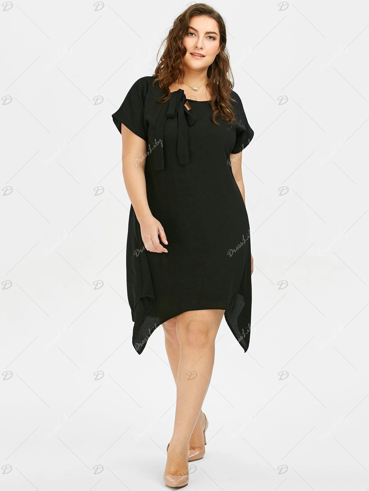 Plus Size Pussy Bow Chiffon Asymmetric Dress Chiffon Plus Size