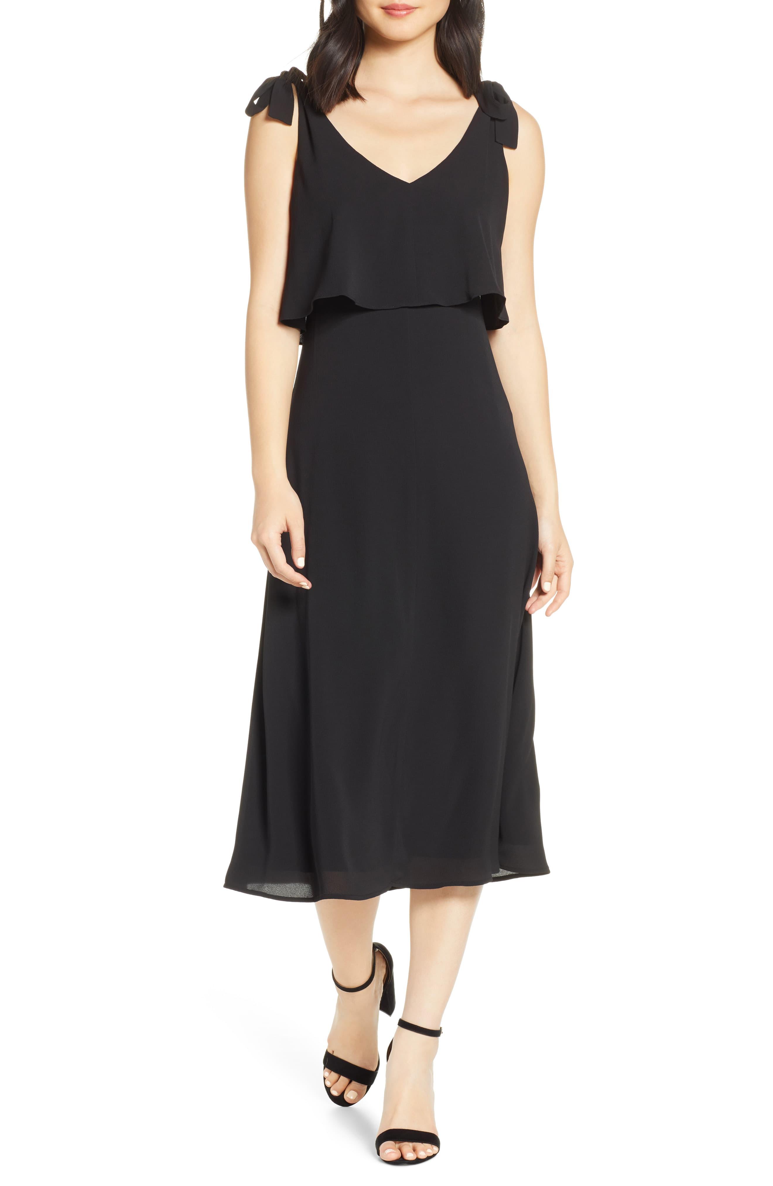 4c5c3851 Women's Charles Henry Tie Shoulder Popover Midi Dress, Size Large - Black