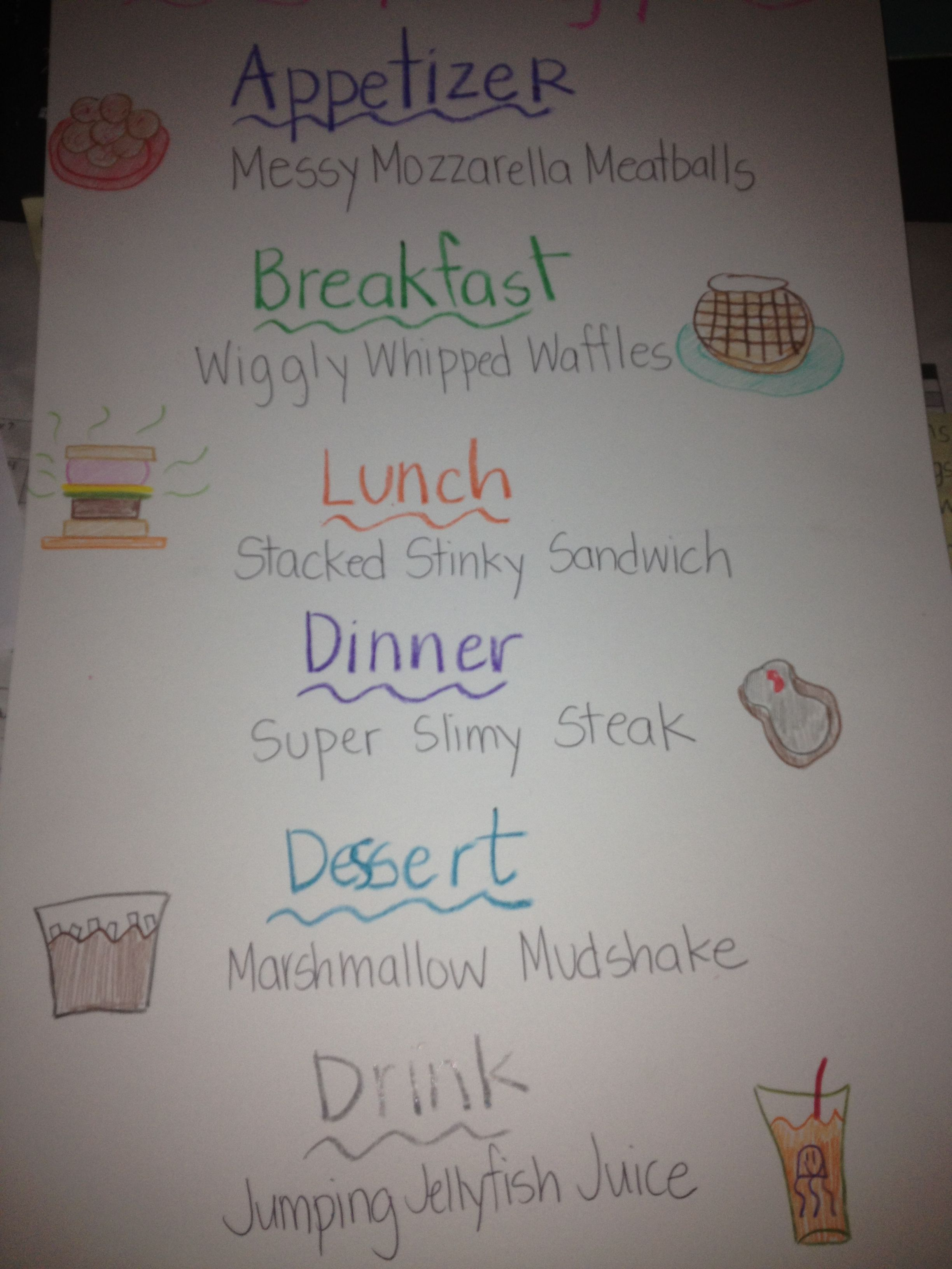 Awesome Alliterations Menu Just Did This Lesson With My