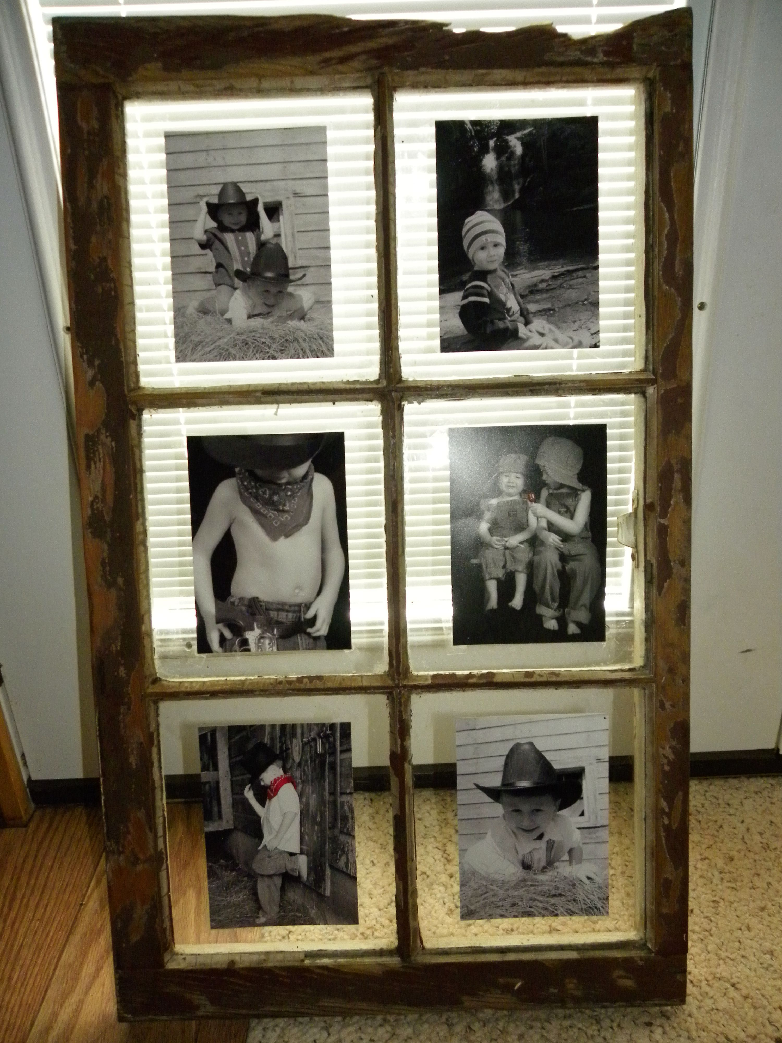 Another recycled old window! Picture frame idea. Really great way to ...