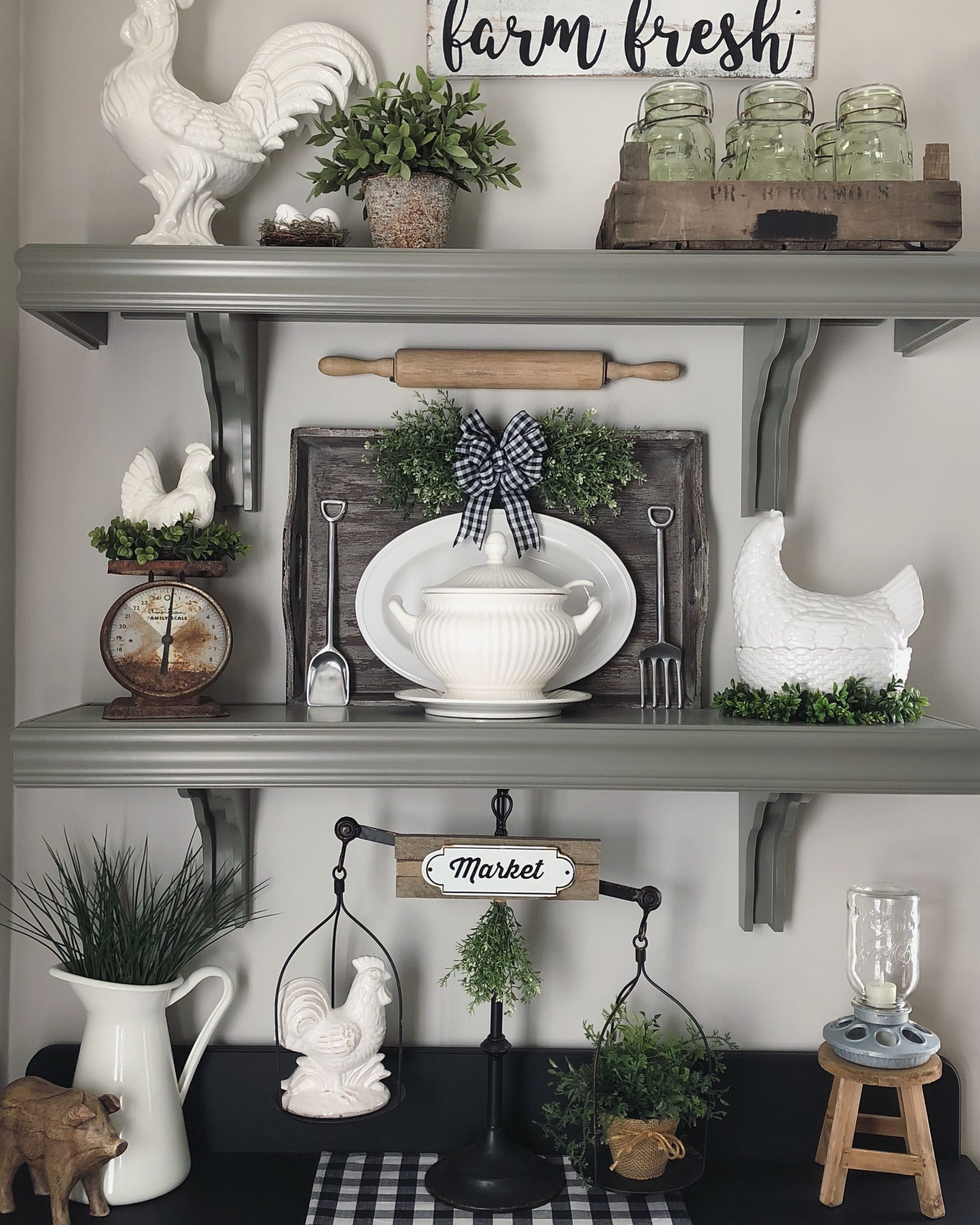 Farmhouse Dining Room Shelves Kitchen Wall Decor White Chickens And Roosters Old Scale Buffalo Check Wall Dining Room Wall Decor Dining Room Shelves Decor