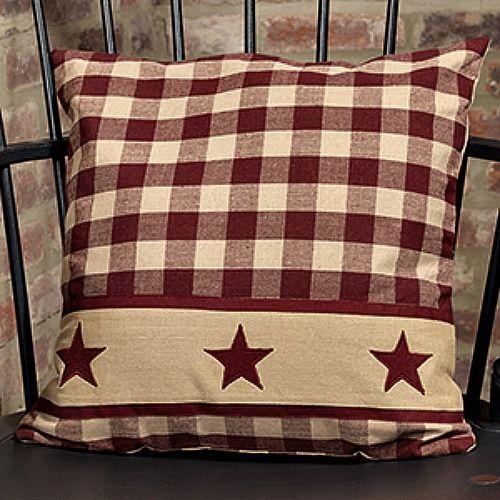 New Primitive Homespun Wine Burgundy Country Star Decorative Pillow 16 Primitive Pillows Pillows Decorative Diy Primitive Decorating Country