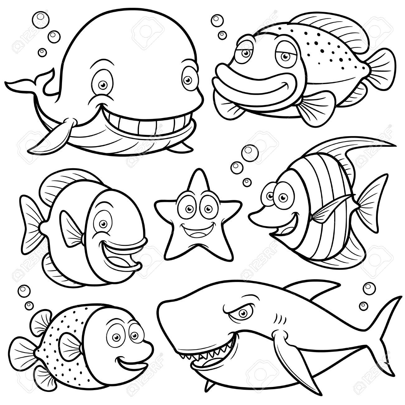 25+ Sea animals clipart coloring pages info