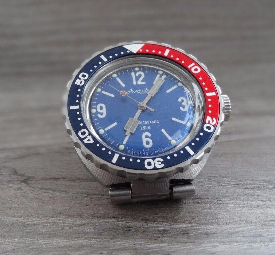New Bezel With Red Blue Insert for Vostok Amphibian and Komandirskie