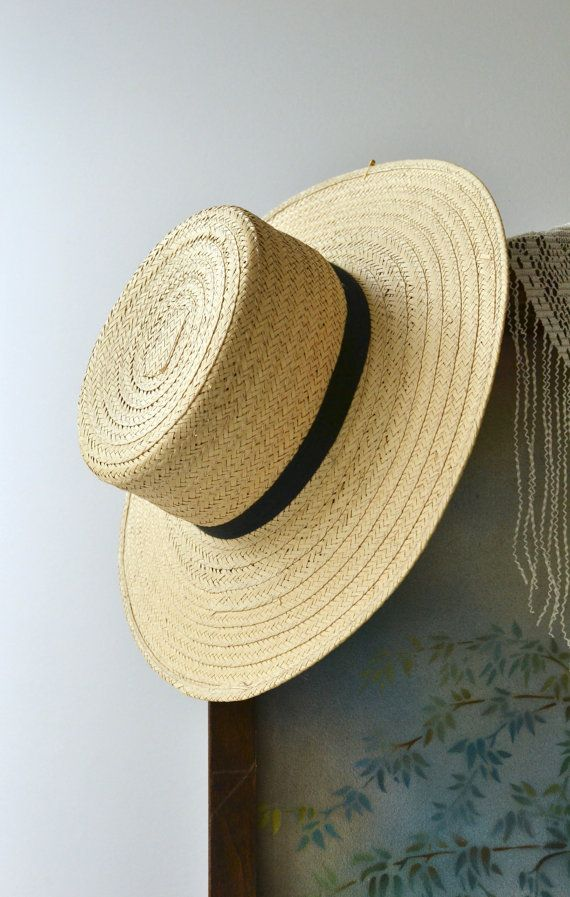 ae9fdc73932606 Vintage woven straw sun hat, Amish-style with wide, flat brim, straight  crown and black ribbon trim. ✂-----Measurements hat size: 7 inner brim