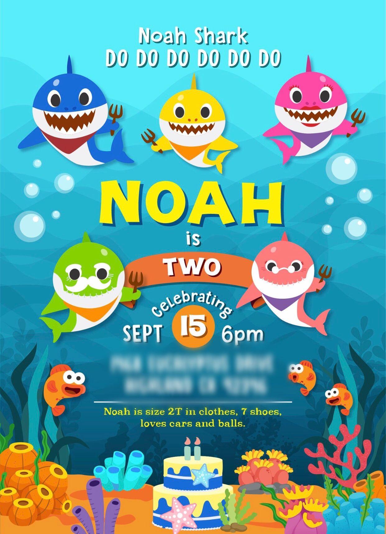 Baby Shark Invitation Shark Birthday Party Invitation Shark Theme Birthday Shark Birthday Invitations