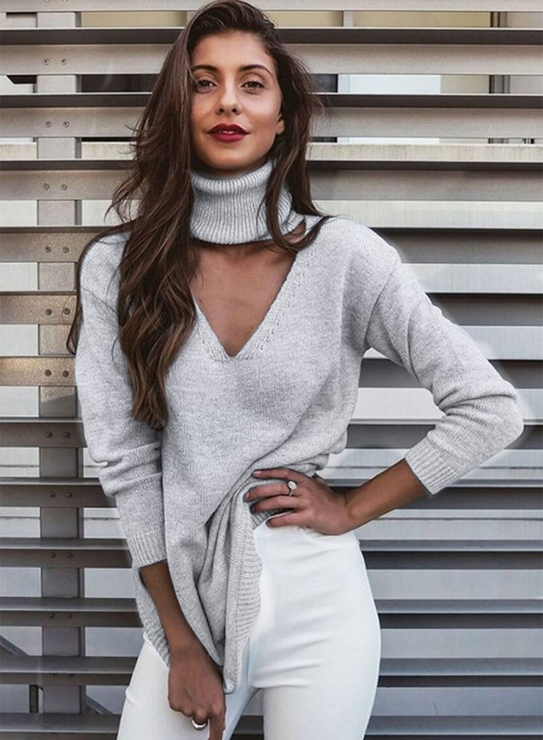 V Neck Halter Turtleneck Knit Pullover Sweater Dress | Pullover ...