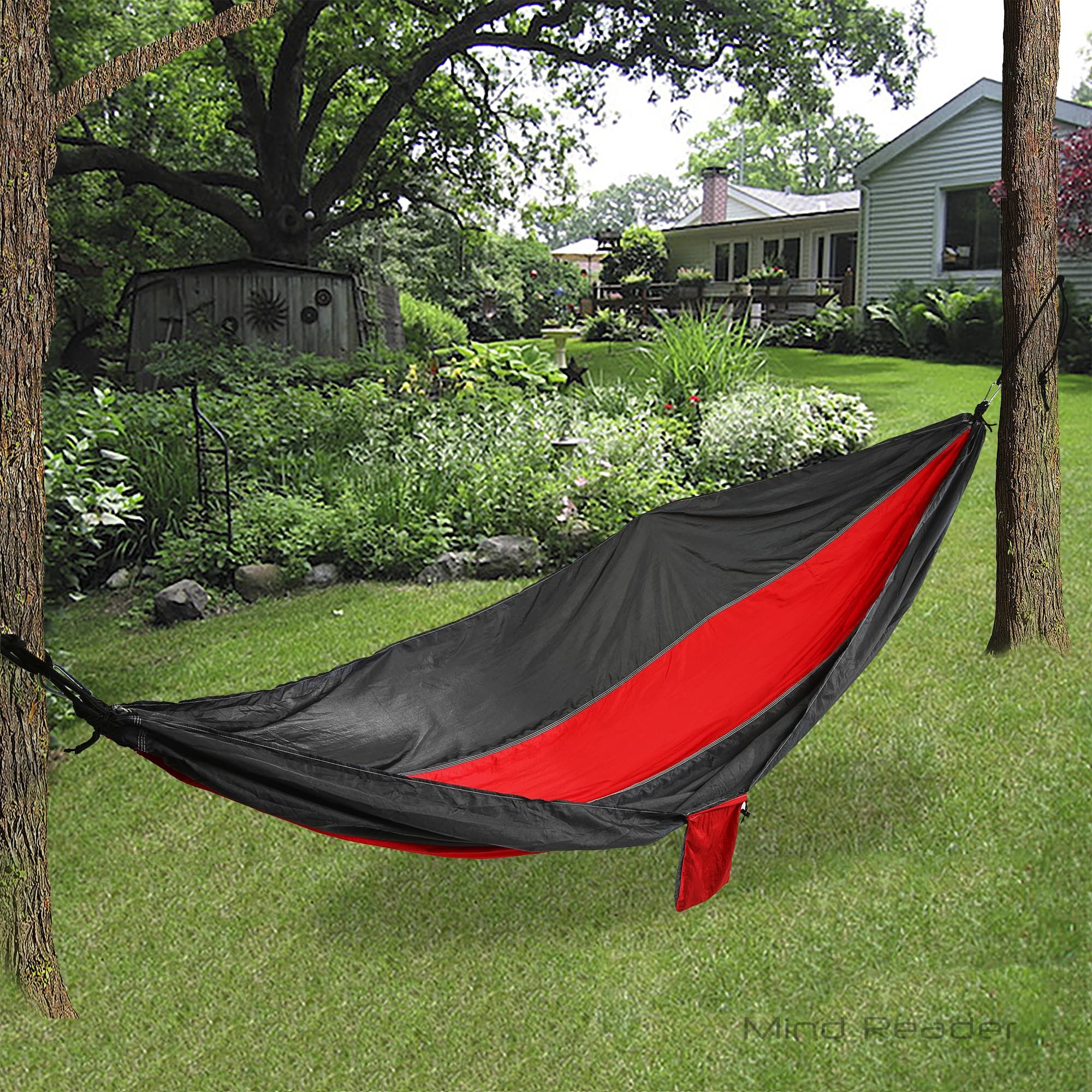 Mind reader nylon hammock with steal ropes red hammock swing