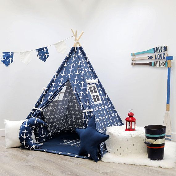 Navy Anchors Teepee teepee for boys kids tent indoor tent tent for kids play tent toddler tent & Navy Anchors Teepee teepee for boys kids tent indoor tent tent ...