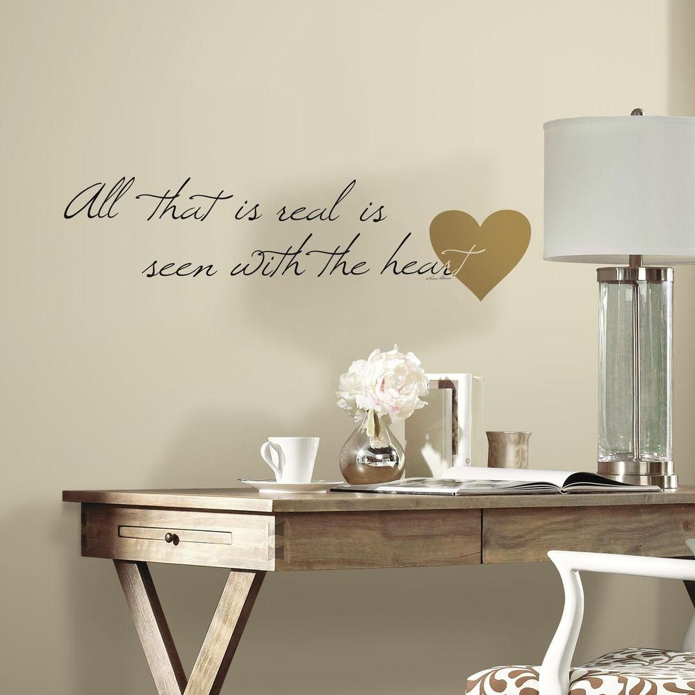 5 in. x 11.5 in. Heart Quote 10-Piece Peel and Stick Wall Decal, Gold