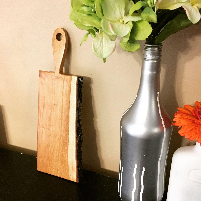 Live edge serving board cherry bark oak serving board by