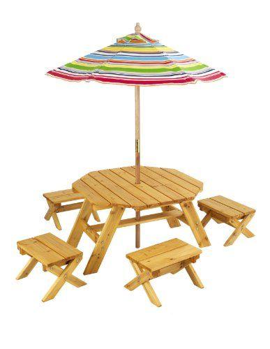 Kidkraft Octagon Table Amp 4 Stools And Multi Striped Umbrella