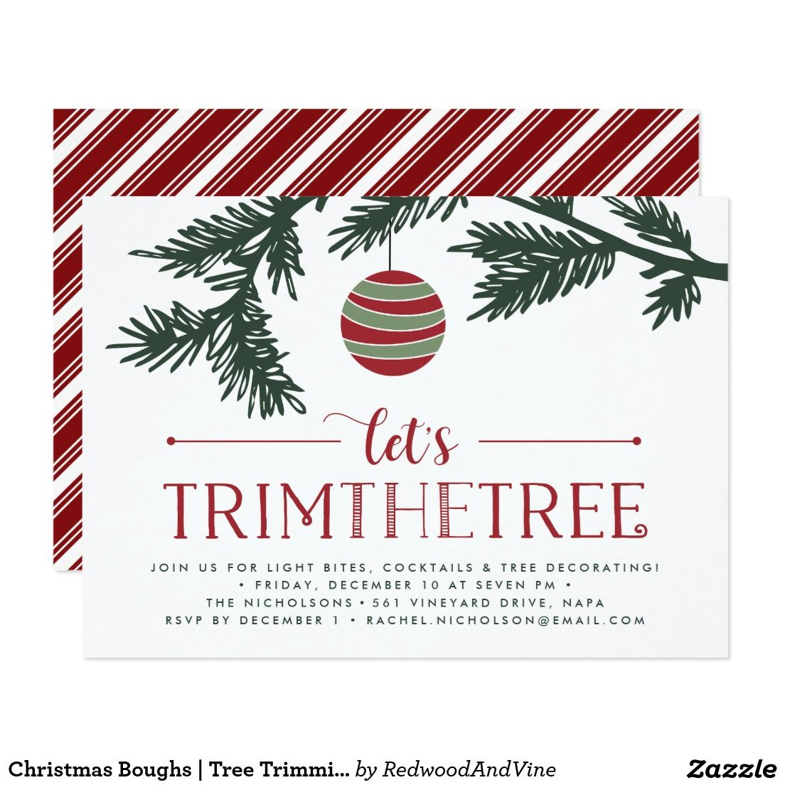 Christmas Boughs | Tree Trimming Party Invitation | Christmas Party ...