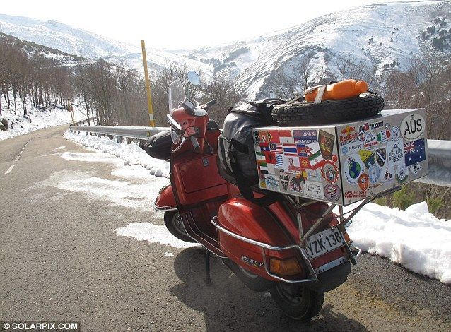 Views: He said the Vespa, pictured here during a journey towards the Spanish coast at Lugo, Oviedo, in Spain, was a great way of meeting people #MediumMaria
