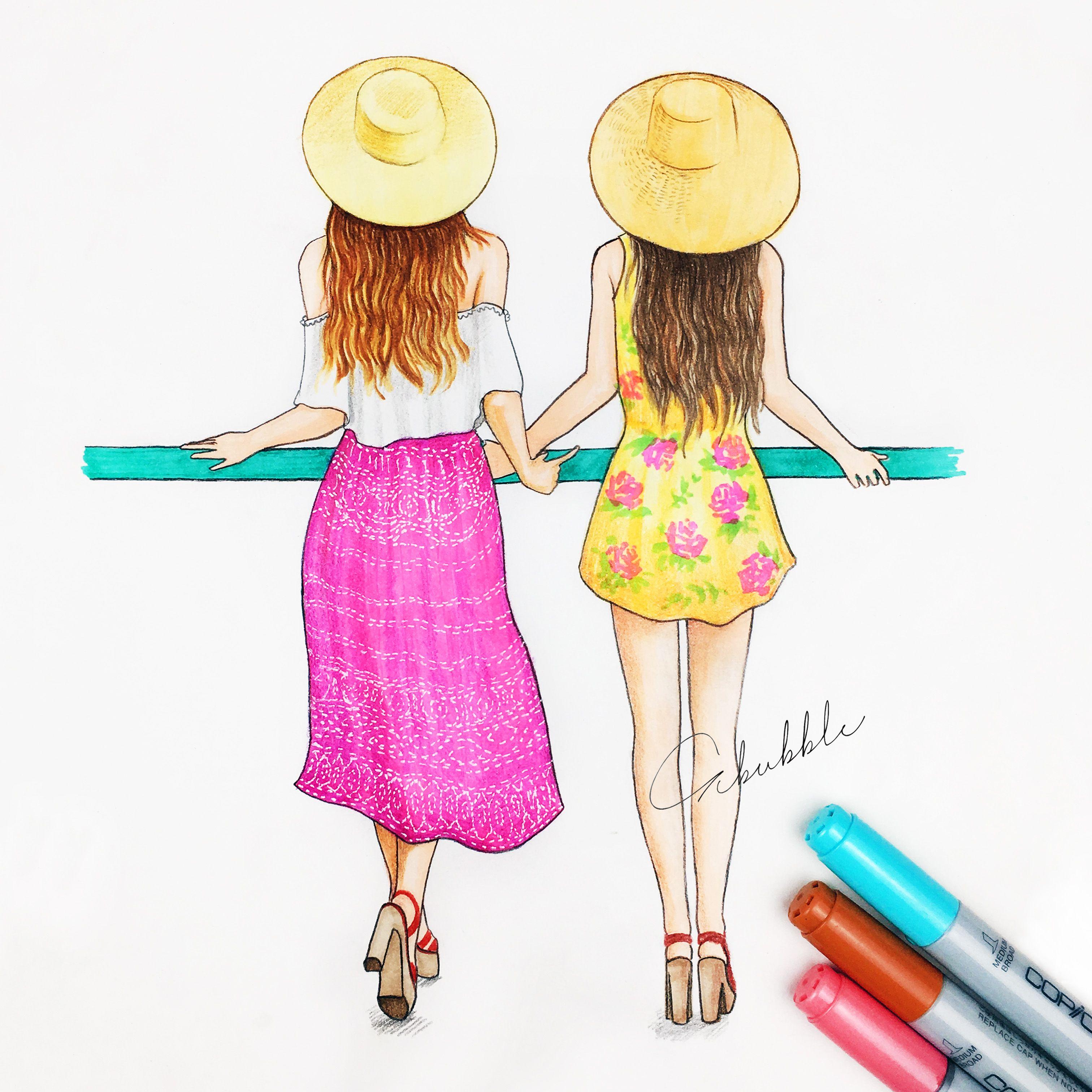 Fashion girl best friends forever pinterest girls for Best friend drawings ideas