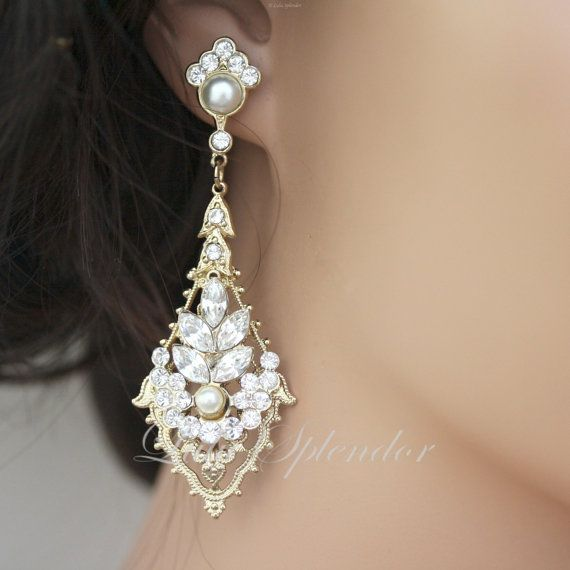 Gold Wedding Earrings Rhinestone Chandelier Vintage Bridal Swarovski Pearl And Crystals Jewelry Ursula Deluxe