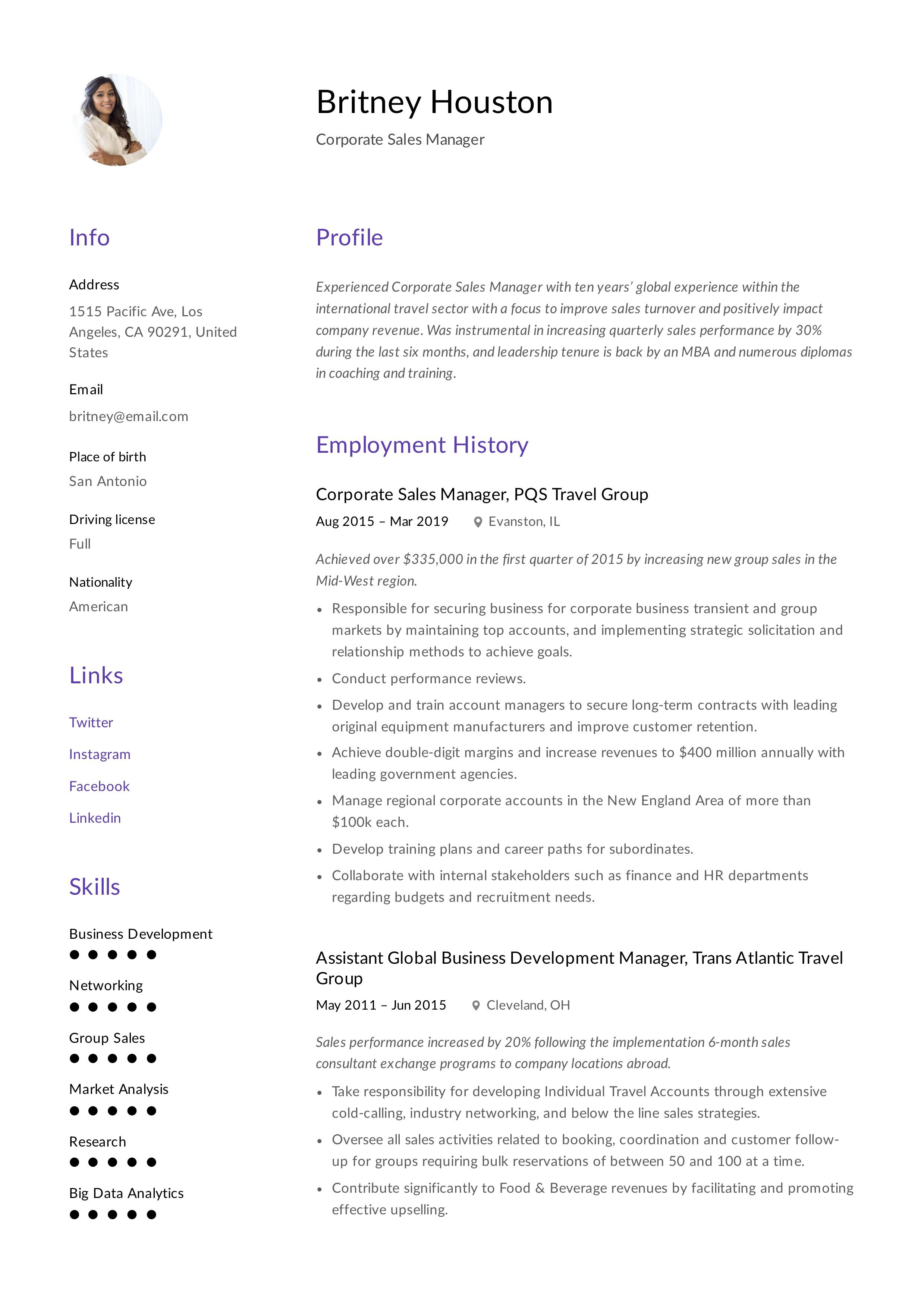 Corporate Sales Manager Resume Template Manager Resume Resume Skills Resume Guide