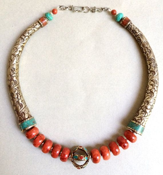 Tibetan Influence  Necklace by AdornMeNow on Etsy
