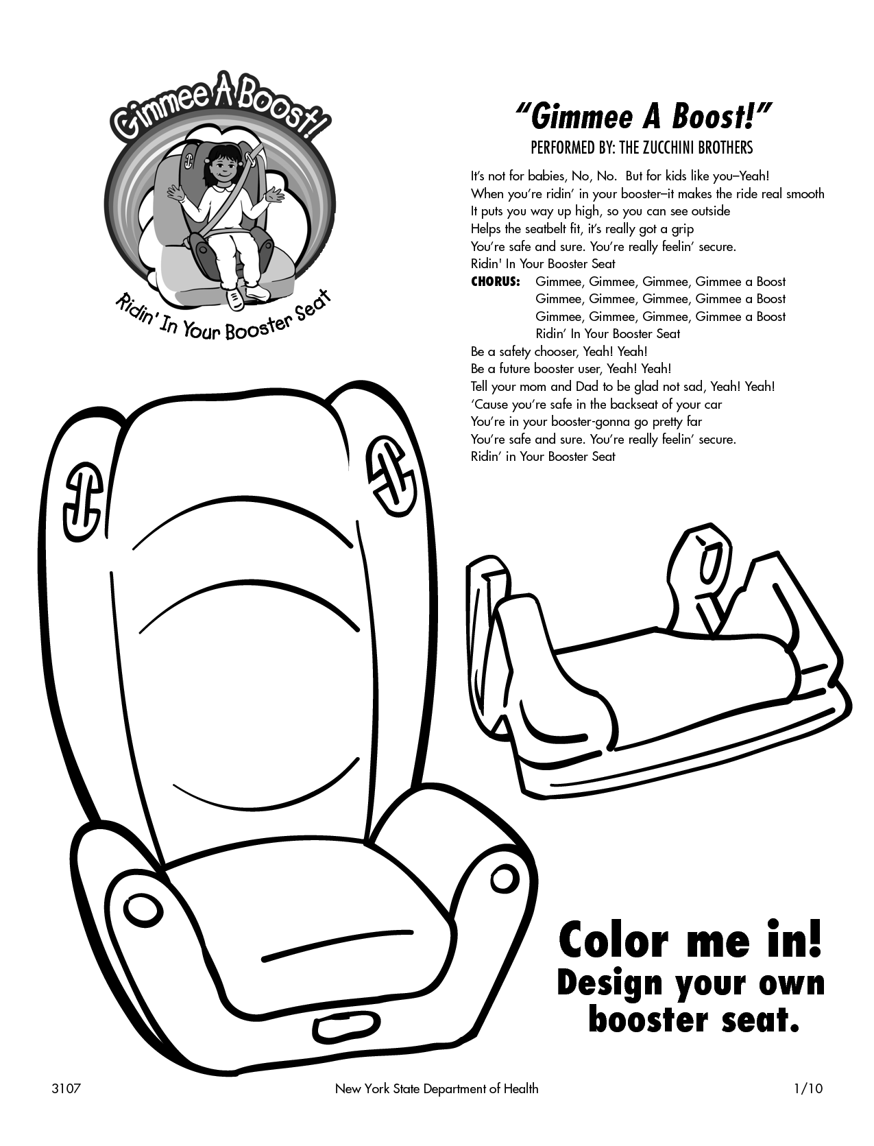 Carseat Saftey Coloring Pages Gimme A Boost Booster Seat Coloring Sheet Booster Booster Seat Coloring Pages