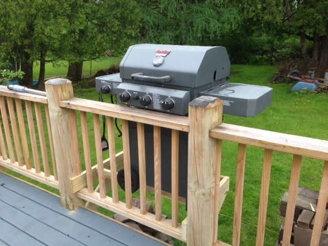 I Was So Tired Of The Barbecue Grill Taking Up So Much Space On The Deck This Was My Genius Husband S Solution T Deck Grill Outdoor Kitchen Grill Bbq Canopy