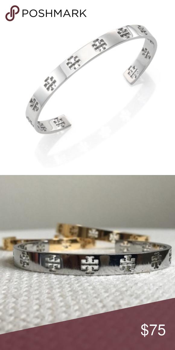 Tory Burch Silver T Logo Cuff Bracelet Nwt Slim Sterling Silvertory Bangle With Cutout Logos Measurements Width 0 25in 5cm Diameter