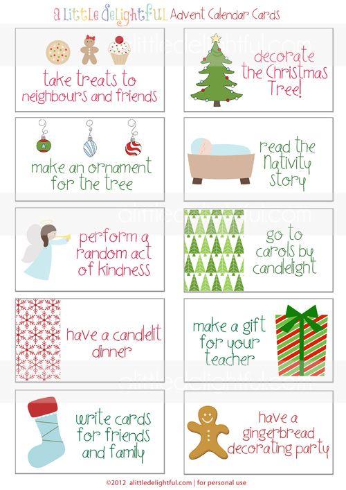 Calendar Game Ideas : Printable advent calendar activity cards christmas