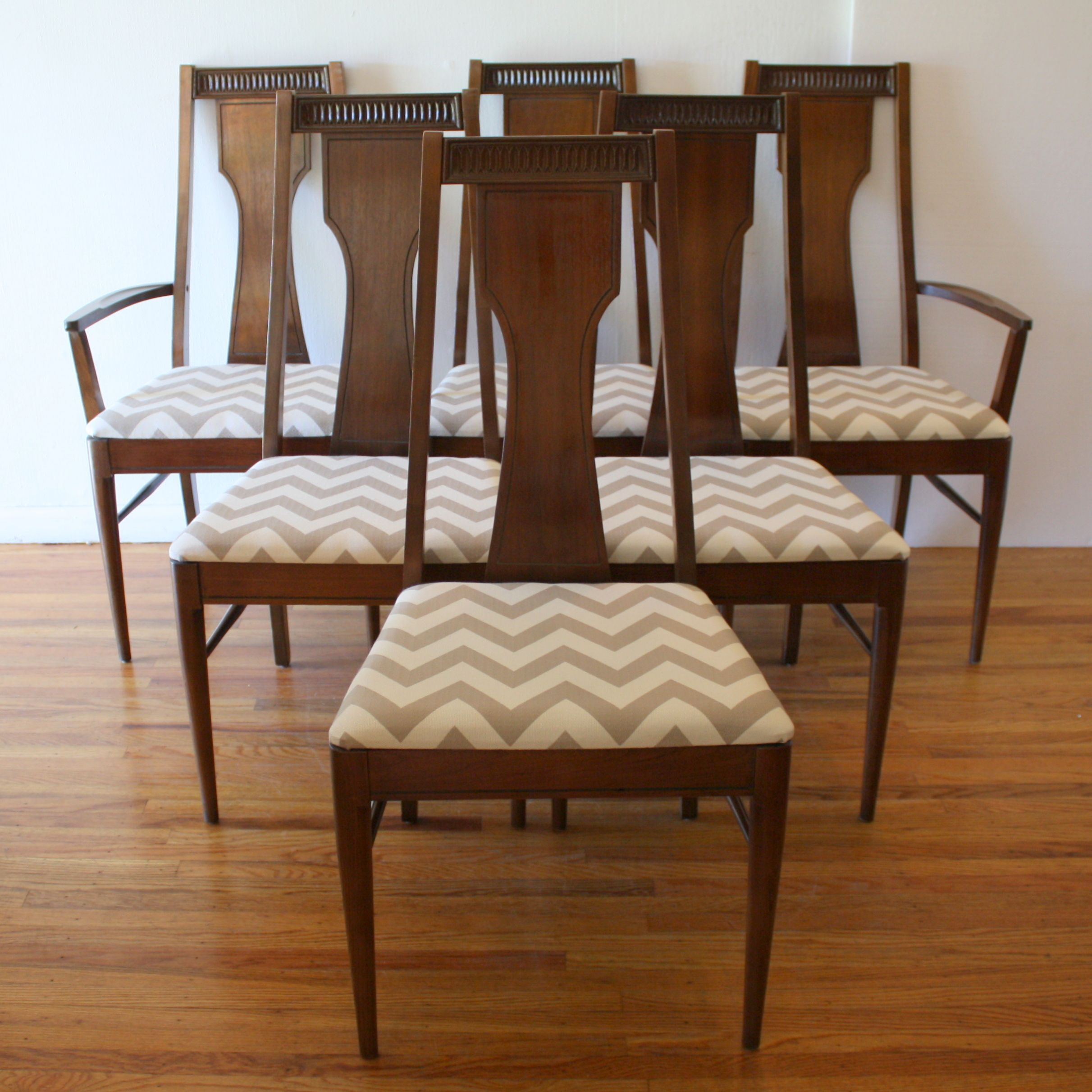 Mid Century Modern Dining Chair Set By Broyhill Upholstered With New Gray  And White Chevron