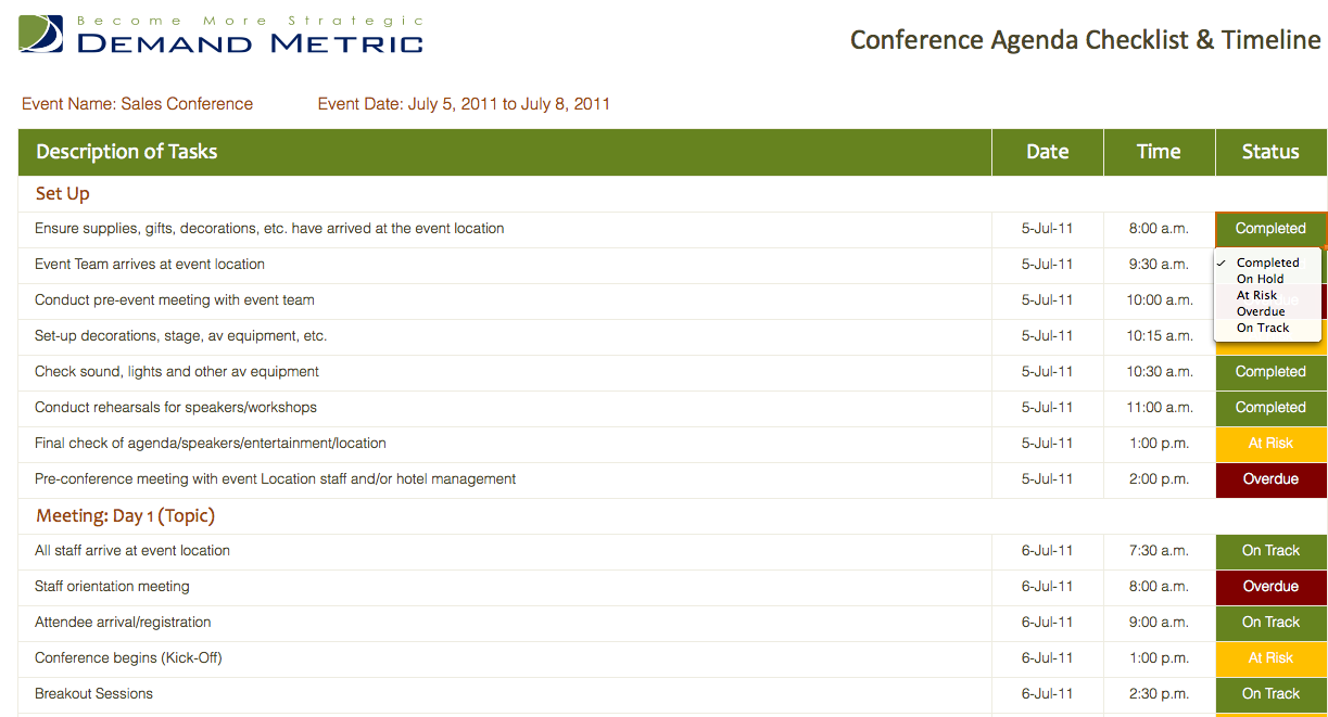 Conference Agenda Checklist  Timeline  An Agenda With A