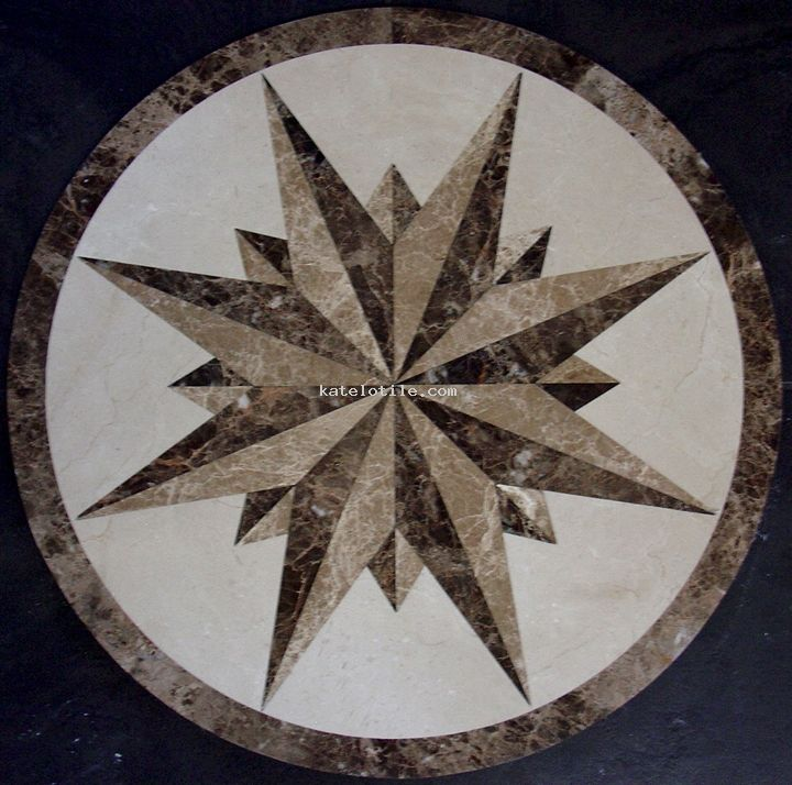 Large Round Compass Floor Medallion Decorative Floor Tile