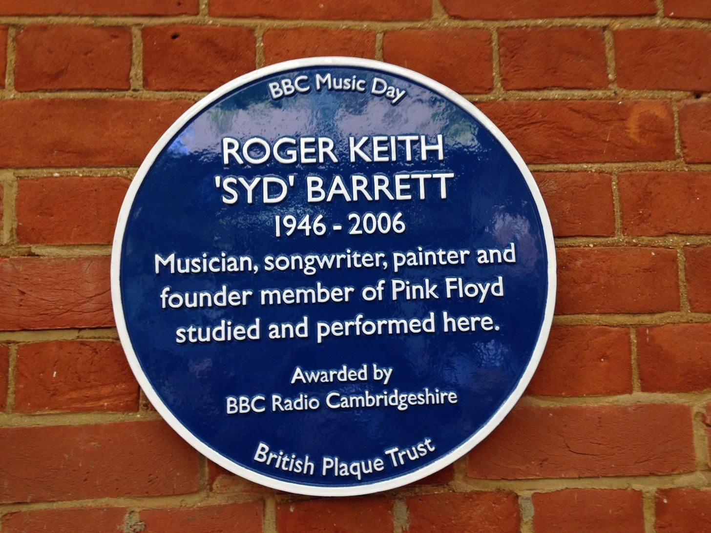 Syd's plaque at the Cambridge School of Art (now part of Anglia Ruskin University). Unveiled today.