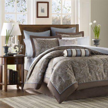 Amazon Com Madison Park Aubrey 12 Piece Complete Bed Set Blue Cal King Bedding Bath Guest Comfortable Bedroom Complete Bedding Set Paisley Bedding Set