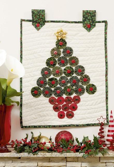 Yo Yo Christmas Tree Wall Hanging Patterns Fabric Yoyo Crafts