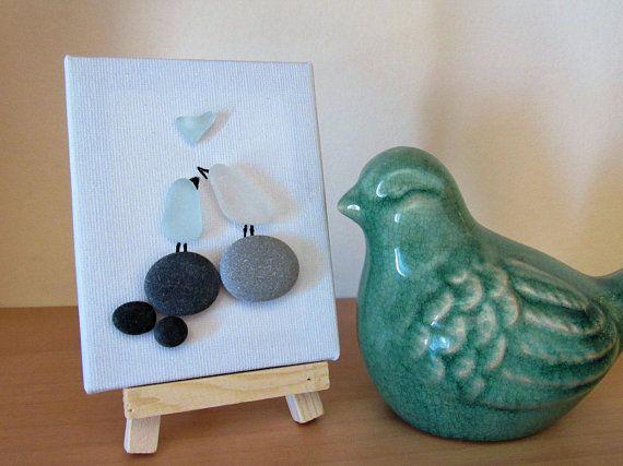 Sea glass art pebble art easter gifts canvas art pebble birds sea glass art pebble art easter gifts canvas art pebble birds negle Choice Image