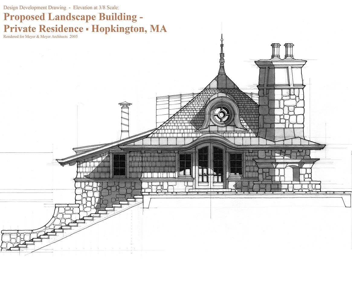 Elevation Marker Plan : Design development elevation drawing for small cottage