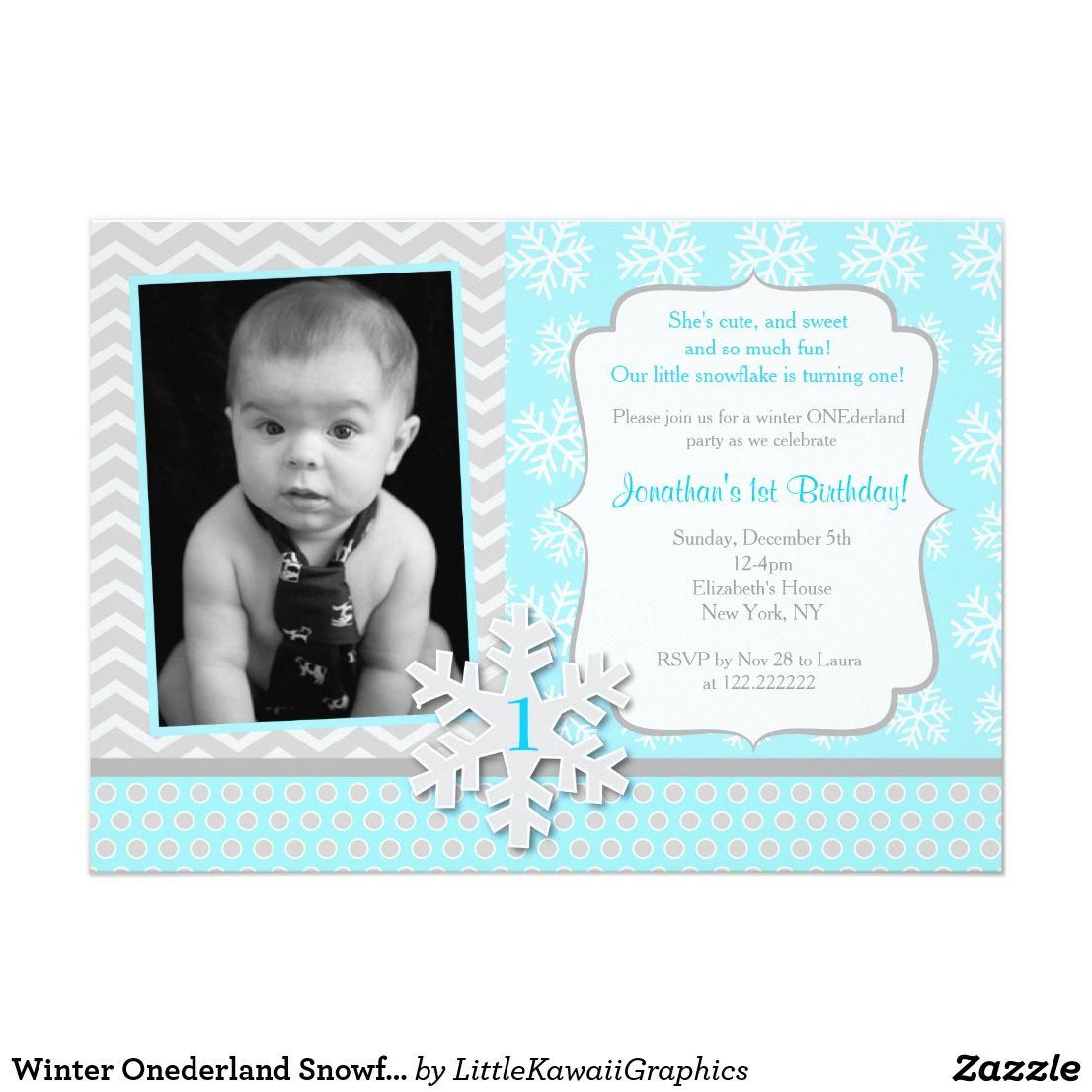 Winter Onederland Snowflake Birthday Invitation Snowflake Winter ...