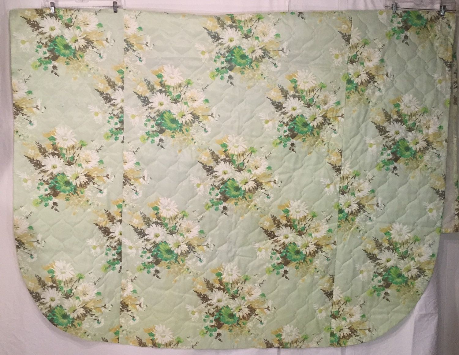 Vintage Twin Size Green Brown Yellow and White 60s Sixties Floral Quilted Bedspread Excellent Mid Century Style by CarolinaThriftChick on Etsy $19.99