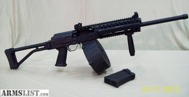Saiga 12 AK 47 side folding shotgun converted quad rail ...