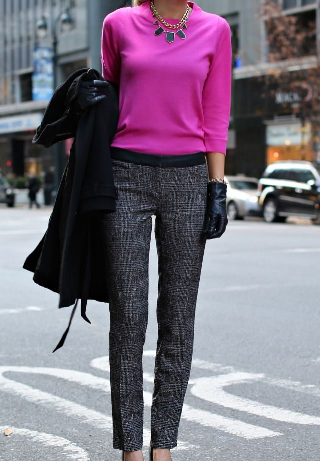 5d055b5146 love this fuchsia sweater paired with black basics for work