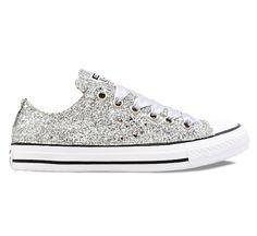 Sparkly Silver Glitter Converse All