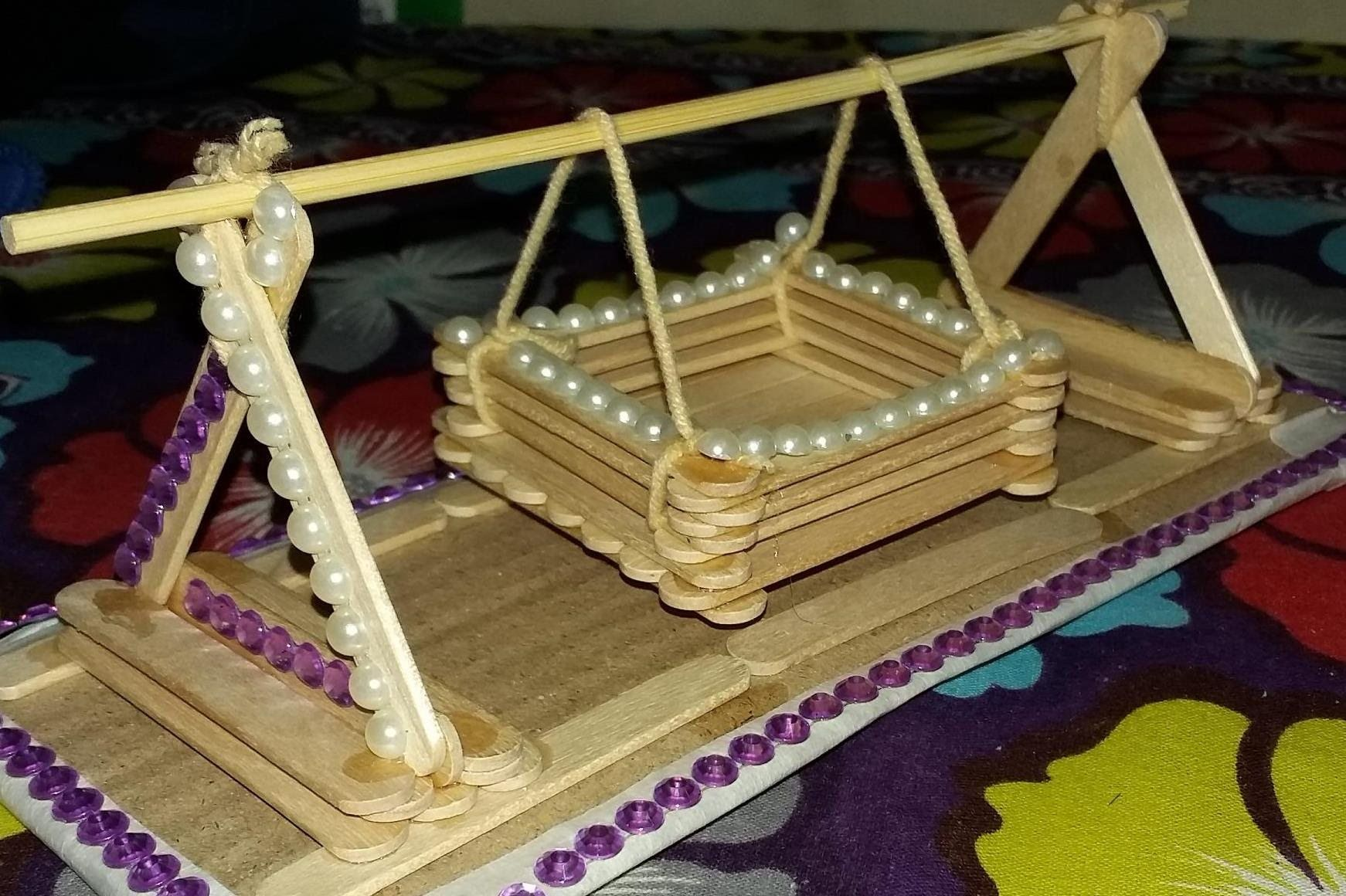 making a toy baby swing with popsicle sticks(15) | popsicle