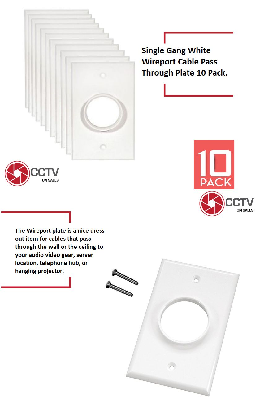 Single Gang Wire Port Single Size Bulk Cable Wall Plate Low Voltage 10 Pack