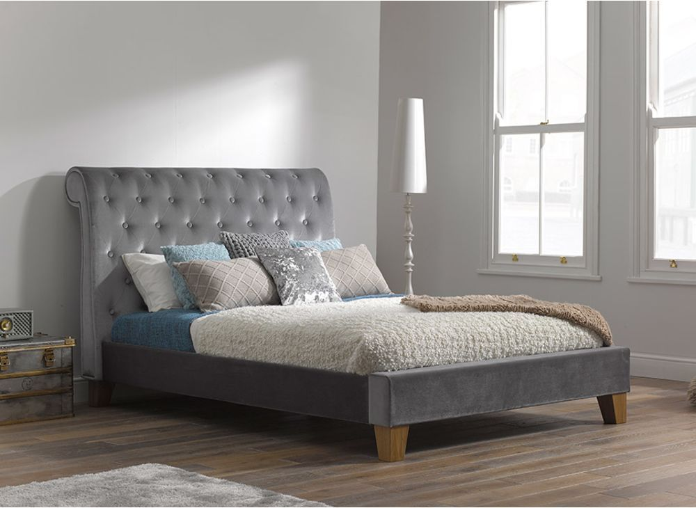Croft Silver Fabric Bed Frame | Decor bedroom | Pinterest | Bed ...
