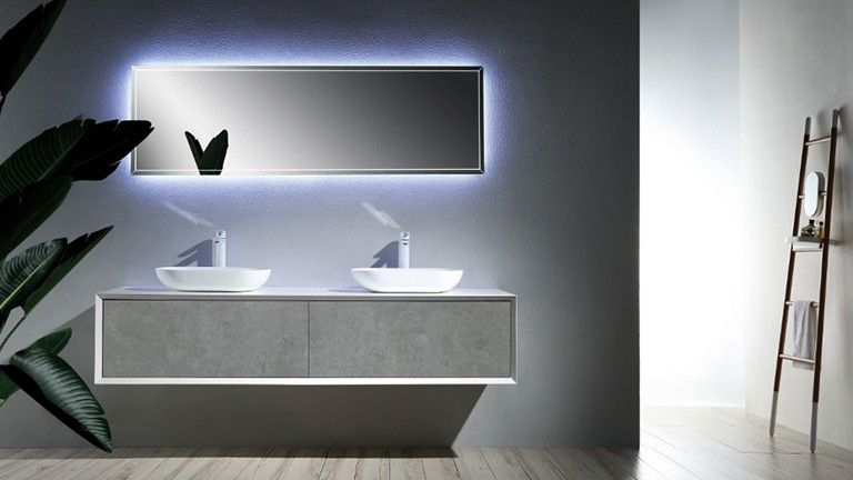 Mueble de baño suspendido con lavabo doble 180 cm - Fiona ...