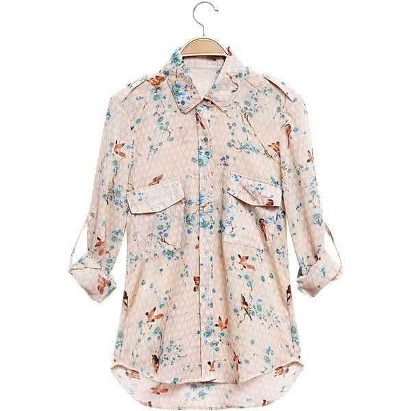 c321deb2a Yoins Floral Print Shirt with Long Sleeves (€15) ❤ liked on ...